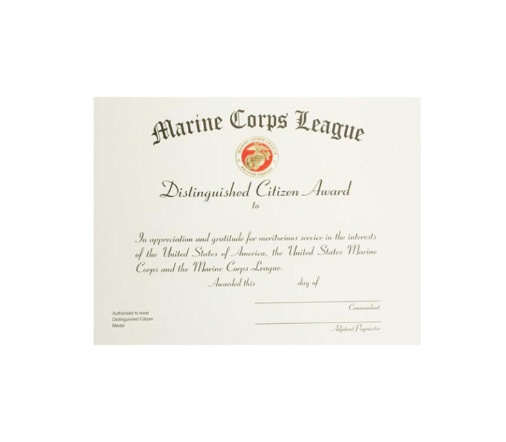 Distinguished Citizen Certificate